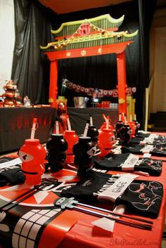 Ninja birthday party table! See more party planning ideas at CatchMyParty.com!