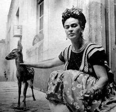 Frida Kahlo and her pet deer Granizo 1939