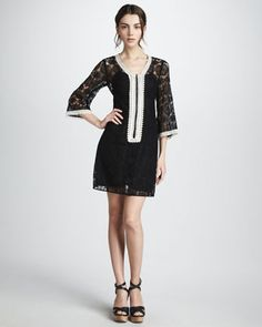 Lace Contrast Dress by Nanette Lepore at Neiman Marcus.
