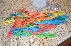 DIY Harmony Jar [Tutorial] : When the kids fight or misbehave, they pick a stick from the harmony jar. Some things are chores and many are things to do for the other sibling... colored tongue depressors + sharpie pen + jar = genius!
