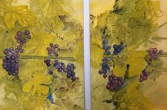 """Sun through the vineyard on these two panels. Each Panel measures 22"""" X 28.5"""" this pair is perfect for flanking a fireplace or as a pair with a continuous flow through the vines. Set sells for $2500.00, unframed and ready to ship. Lee@LeeBauman.com for information #vineyard #sunset #Grapes #watercolor"""