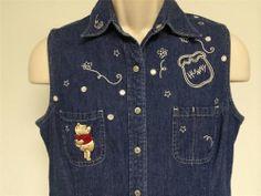 The Disney Store Winnie The Pooh Button Snap Down Denim Shirt Size Medium #Disney #ButtonDownShirt #Casual