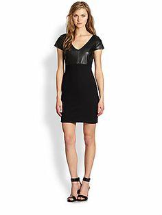 Bailey 44 Dante Faux Leather-Panel Combo Dress