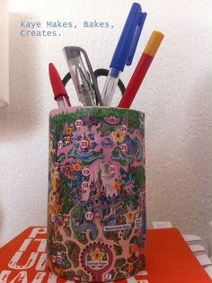 Disney Map Craft - Pen Pot  We have a few maps we brought back.   Disney Craft day in effect soon!