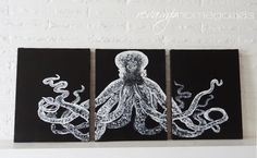 Knockoff:  Lord Bodner's Octopus Triptych by Meg Padgett from Revamp Homegoods