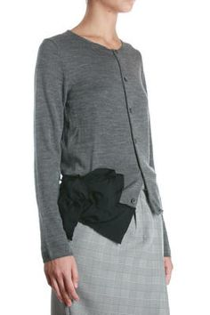 worsted wool knit mid grey cardigan with black asymmetric polyester frill and bow appliqué at the hem, round neck, front button fastening, long sleeves, small ribbed edges - Autumn/Winter - 100% wool / attach: 100% polyester