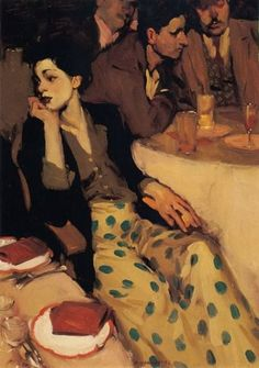 "Milt Kobayashi  American  ""Waiting""  Where Mary Cassat meets Egon Schiele"