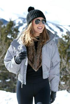 grey ski bomber, black leggings, vintage fur stole, black beanie, aviators {adidas by stella mccartney, carbon38, ray-ban} {ski trip essentials}