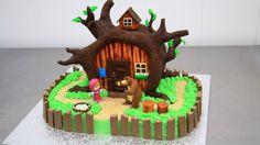 MASHA and the Bear Chocolate Cake - Decorating with Modeling Chocolate b...