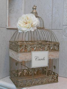 Wedding Card Box / Birdcage  Cardholder / Gold by YesMoreFunk, $68.00