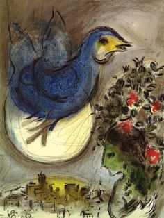 """The blue bird"", Lithography by Marc Chagall (1887-1985, Belarus)"