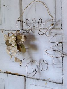 Recycled bed springs farmhouse wreath metal by AnitaSperoDesign for-the-home