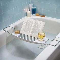 Make the most of your bath with this luxury bathtub caddy. This bathtub caddy features a built in book stand with a convenient reading angle, a spot for your wine glass and a self-draining soap dish. Taking a bath has never been so relaxing. Bathtub Caddy, Bathroom Caddy, Bathroom Stuff, Bathroom Ideas, Design Bathroom, Bathtub Table, Ocean Bathroom, Bathroom Gadgets, Bathroom Modern