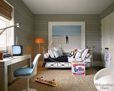 New Horizontal Striped Wallpaper Bedroom Ideas Kids Bedroom, Bedroom Decor, Bedroom Ideas, Bedroom Designs, Parsons Desk, Deco Kids, Striped Wallpaper, Kid Spaces, Space Kids