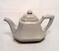 Mid Century Modern Teapot, Sleek Geometric design, Dove Gray by FaberGreaves on Etsy