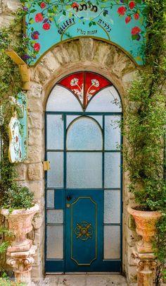 colorful glass door