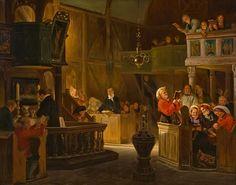 Adolph Tidemand (1814–1876): Gudstjeneste i en landsens kirke, 1846