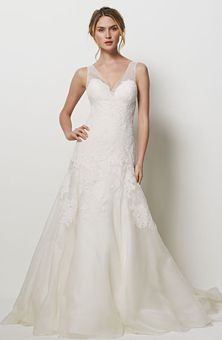 Watters Brides    Style No. 9077B San Fracisco  Ivory lace and silk organza dress with an illusion v-neckline, beautiful embroidered lace covering the bodice with a chapel train.