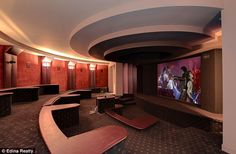 Best seat in the house: The screening room has raised seating so there's no way anyone will be disturbing your view