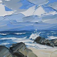 Landscape Art, Landscape Paintings, Guache, Expressive Art, Seascape Paintings, Beach Art, Acrylic Art, Amazing Art, Photo Art