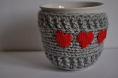 Mug Cozy with red heart Cup Cosy Mug Warmer knitted by LilacGifts, $8.00