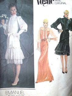 Vintage 1980s Vogue designer Emanuel Ungaro dress sewing pattern 2681  The dress has stunning leg of mutton sleeves with a yoked bodice. 2 Tiers of optional ruffles in 2 lengths  The envelope is tatty and has clean split down one side but the pattern is uncut Size 12 - bust 34 inches  Free standard UK postage  Please find other Vogue patterns here https://www.etsy.com/shop/foxvintageuk?search_query=vogue