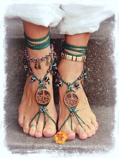 Tribal TREE BAREFOOT SANDALS Forest Fairy artisan by GPyoga, $89.00