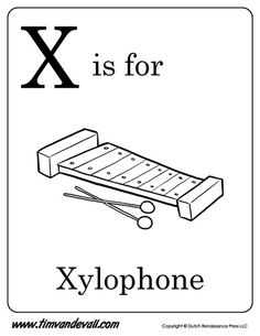 x is for xylophone letter x coloring page