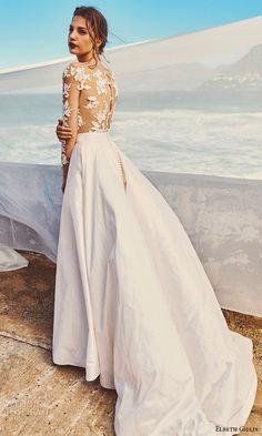 elbeth gillis milk honey 2017 bridal separates illusion long sleeves a line ball gown wedding dress (tara top scarlet skirt) bv train