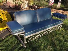 Vintage Aluminum Porch Glider Swing   Bed With Blue Cushions Mid Century  Modern