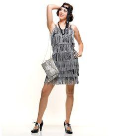 1920s Style Black & White Fringe Flapper Dress.