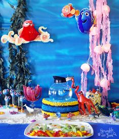 Finding Dory Party Birthday Party Images, Second Birthday Ideas, 2nd Birthday Parties, Birthday Party Decorations, Disney Finding Dory, Finding Nemo, Photo Booth, Party Ideas
