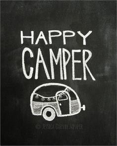 Chalkboard Prints - TWO Digital Files - 8x10 - Happy Camper on Etsy, $15.00