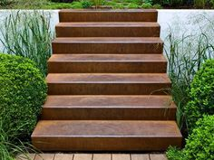 Corten Steel is a durable steel which weathers to take on a rusted look. Find out more about Corten Steel and it's uses on Buy Metal Online. Garden Stairs, Terrace Garden, Steel Retaining Wall, Painted Staircases, Entryway Stairs, Types Of Steel, Iron Stair Railing, Weathering Steel, Vintage Wreath