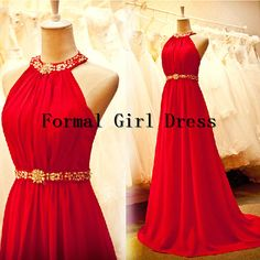 Red Halter Backless Beadings Ruffles Sleeveless Chiffon Dress Long Bridesmaid Dress Prom Dress Evening Dress Party Dress Formal Dress on Etsy, $125.00