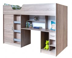 High Sleeper bed Lifestyle with Colour options ideal childrens safe storage bed Cabin Bed With Wardrobe, Childrens Storage Beds, High Sleeper Cabin Bed, Outer Space Bedroom, High Beds, Dorm Room Organization, Safe Storage, Bed Base, Desk With Drawers