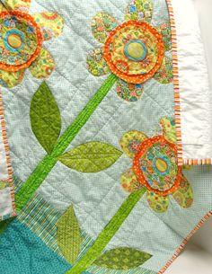 garden flower quilt - make background of large scrap pieces