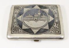 Iraqi silver box with niello decoration. Circa 1930's فضة بغدادية فضيات عراقية قديمة