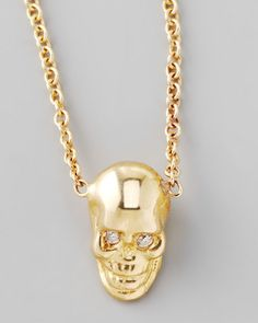 Zoe Chicco - Yellow Gold Skull Pendant Necklace