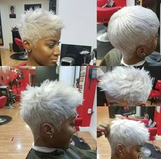 New Nails Grey Short Pixie Hairstyles Ideas Pixie Hairstyles, African Hairstyles, Pixie Haircut, Trendy Hairstyles, Black Hairstyles, Hairdos, Short Grey Hair, Short Blonde, Short Hair Cuts