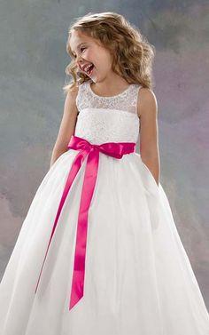 Custom White Satin Jordan Flower Girl Dress Lace Bodice