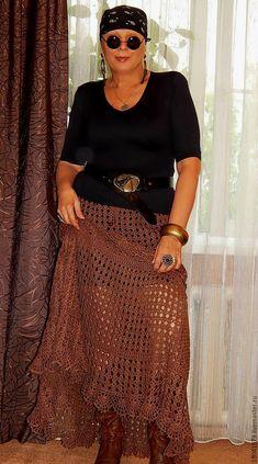 """Купить ЮБКА В СТИЛЕ """"КАНТРИ"""" - коричневый, однотонный, юбка в пол, юбка длинная"""