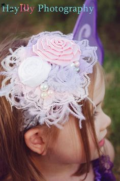 Vintage Tea Party Headband-Baby headbands-Girls Lace Headbands-Children's Headbands-Vintage Headbands-Photo Prop