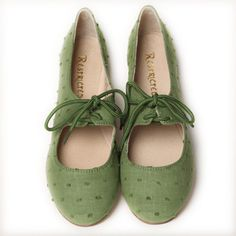 "Restricted ""Scrabble"" Oxfords in green"