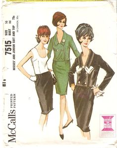 1960s Misses Two Piece Dress Pattern Suit Pattern by CherryCorners,