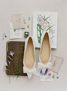 Lavender – White Wedding Flats Bow Joy Proctor for Bella Belle Euphoria collection. Lavender vintage flats, adorned with bows and white embroidered flower motif. Made of neutral silk linen for that heirloom quality and aesthetics. Shop now! Bridal Wedding Shoes, White Wedding Shoes, Bridal Sandals, Ivory Wedding, Wedding Bells, Wedding Dresses, Wedding Wear, Elegant Wedding, Bridal Shoes Online