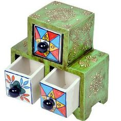 Buy Wooden Ceramic Triple Drawer Handicraft Set by Little India