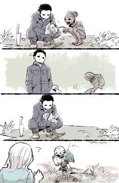 The Shape makes his friend's mask totem. - KAWARA's blog