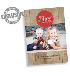 Joy Woodgrain 5x7 Christmas Photo Card