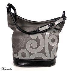 TOMANKO - Lady Flores. Duża torba - worek, połączenie dwóch odcieni szarości z czernią, unikatowy wzór. Wykonana z wysokiej jakości skóry ekologicznej.